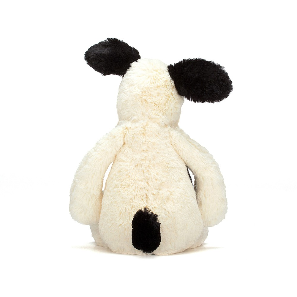back of bashful black and cream puppy jellycat