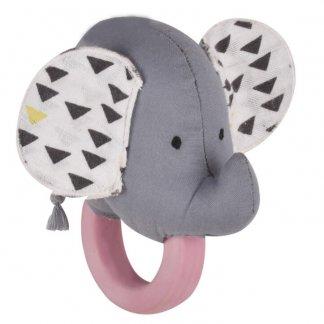 elephant organic teether rattle