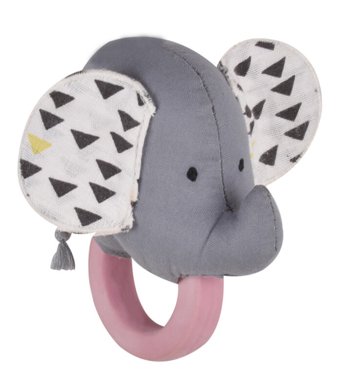 elephant organic teether rattle