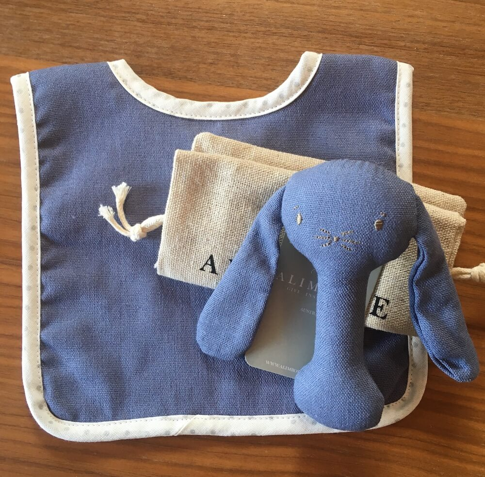 chambray bib and rattle