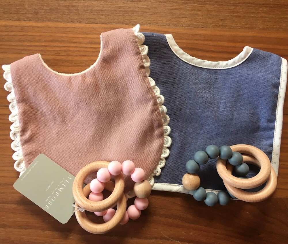 twin bib teether sets