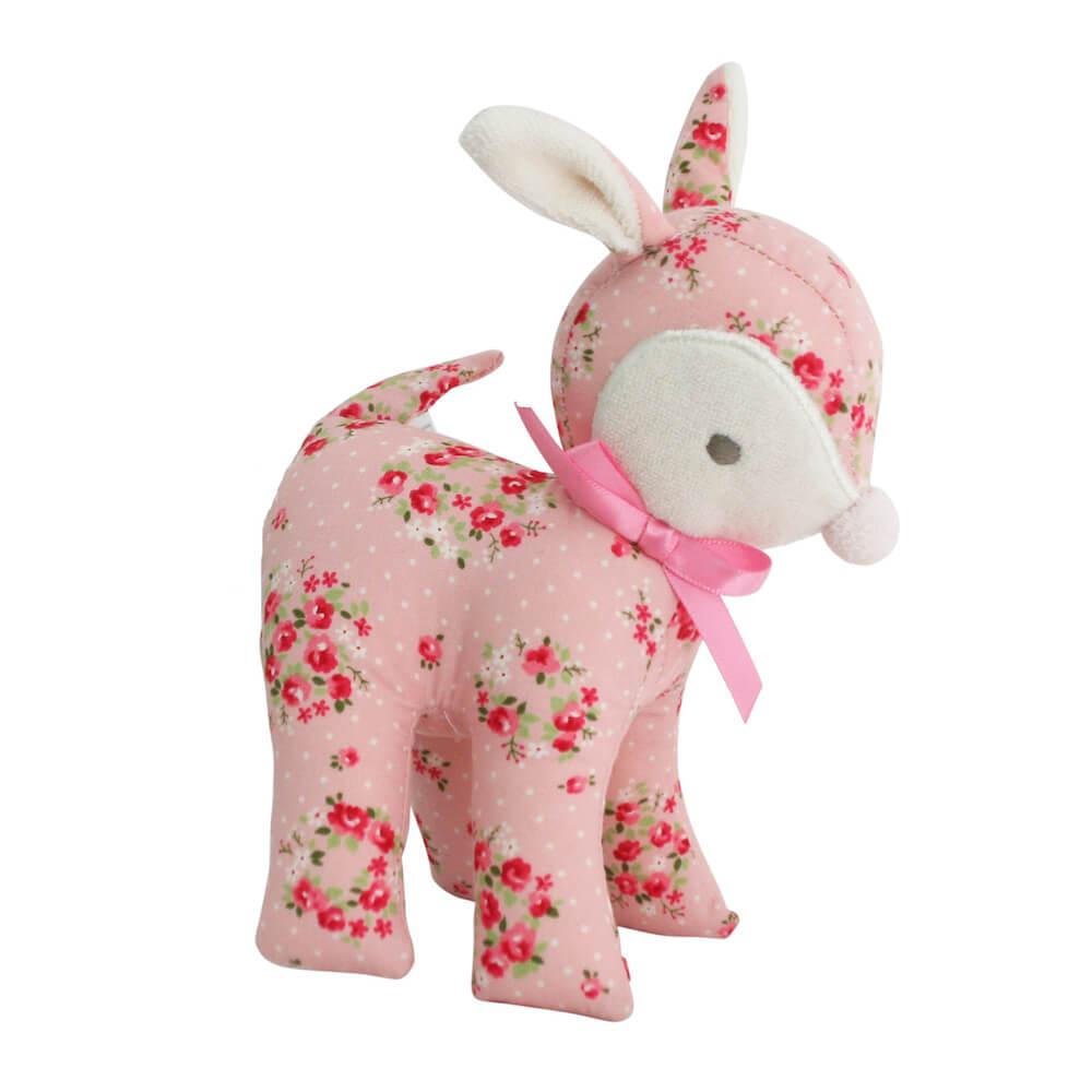 pink floral deer rattle
