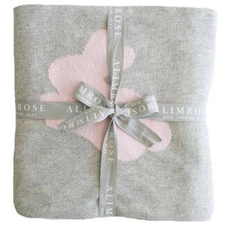 pink bunny grey stroller blanket