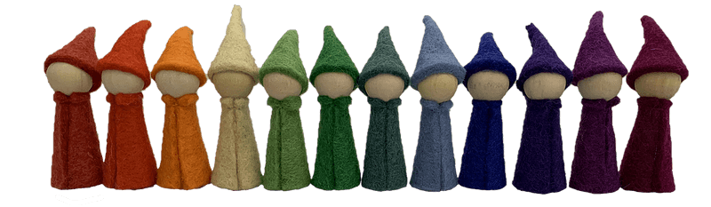12 gnomes felt and wood papoose