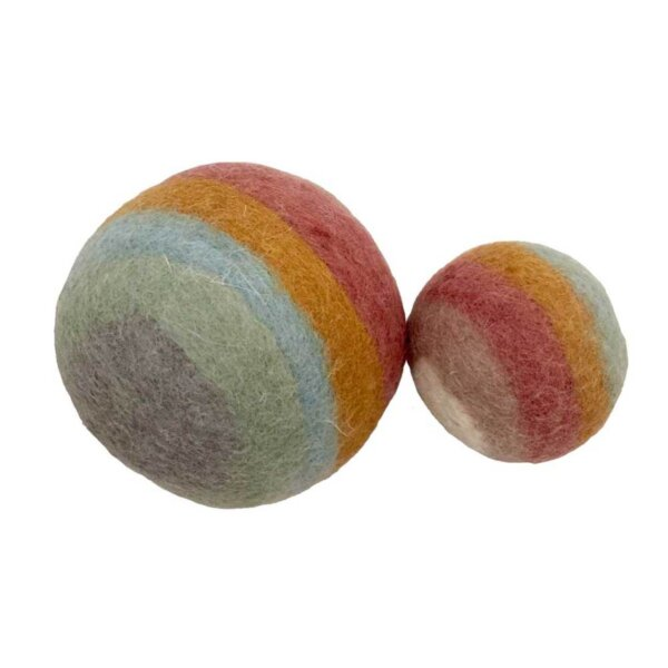 papoose felt earth rainbow big ball medium ball