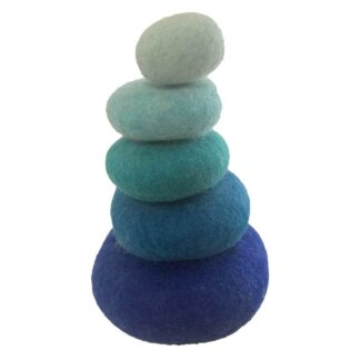 papoose felt blue stacking pebbles