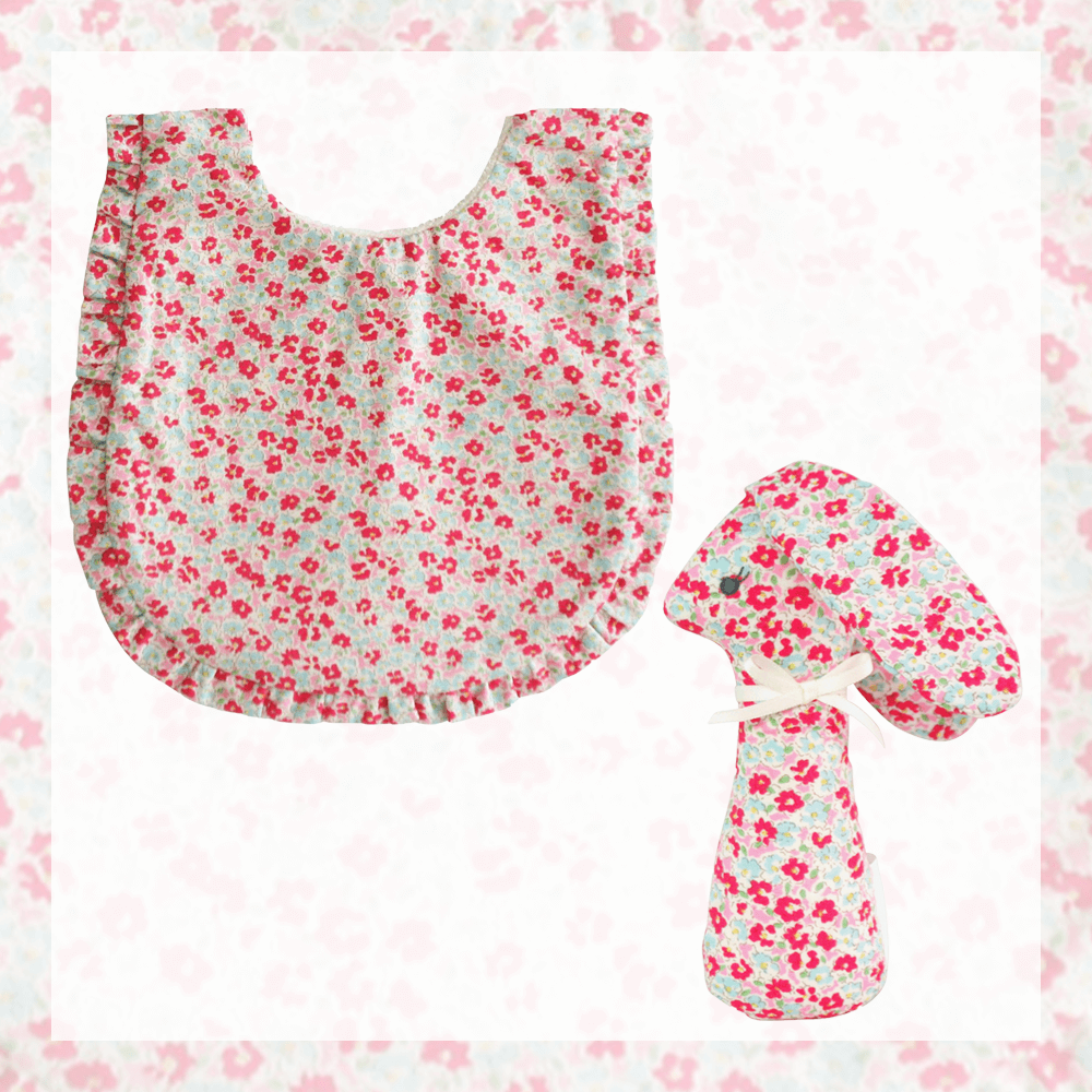 alimrose sweet floral bib and rattle plain