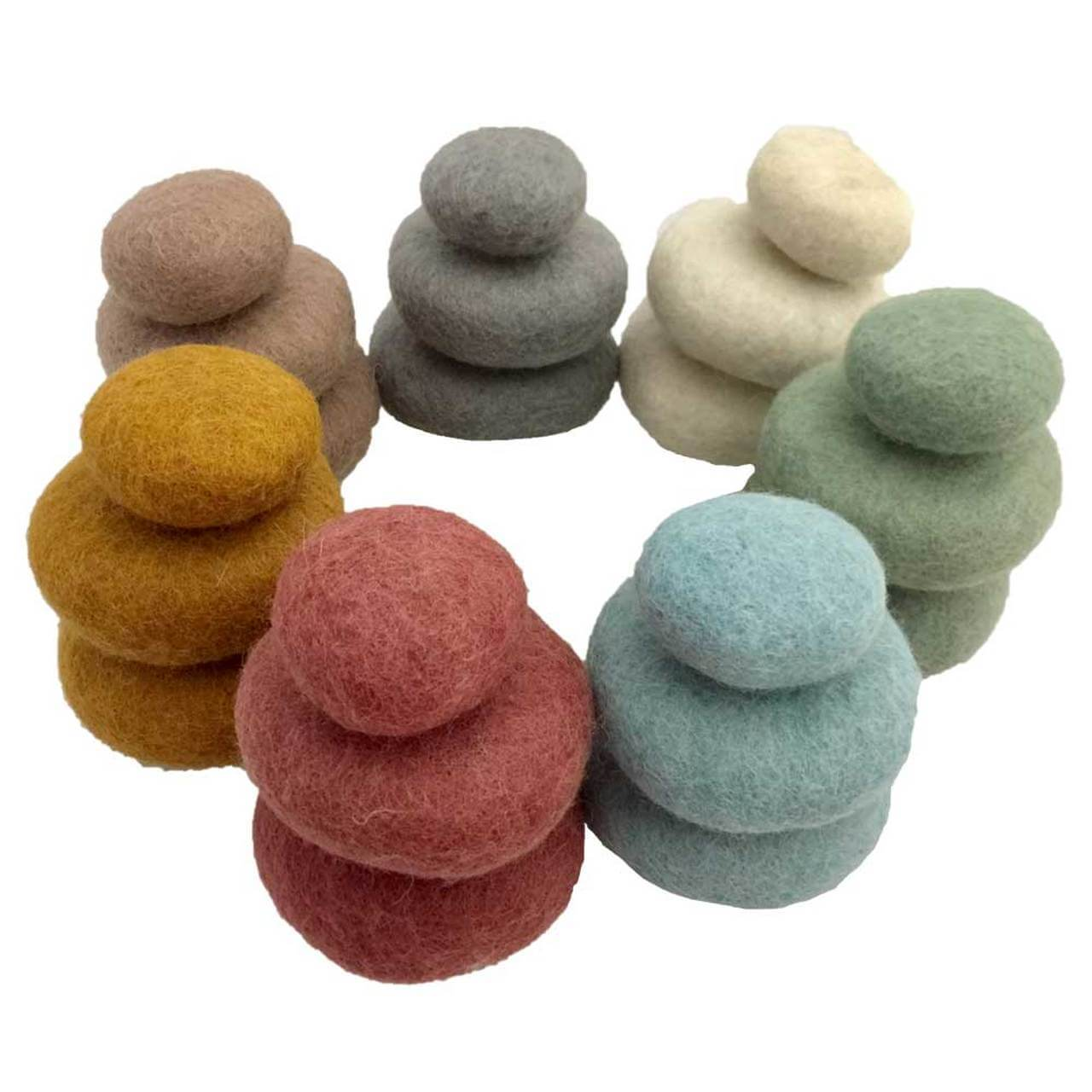 papoose felt earth stacking pebbles