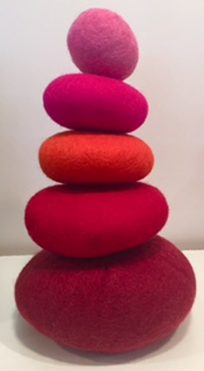 papoose felt red stacking pebbles