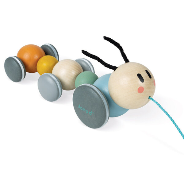 caterpillar pull along janod wooden toy
