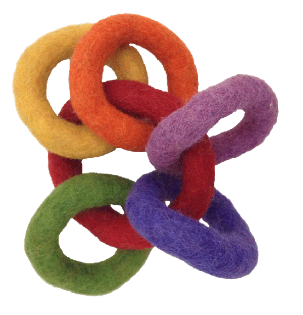 rainbow wool felt rings for baby papoose