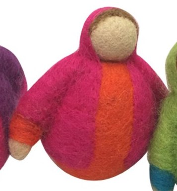 roly poly trio felt wool pink orange 2