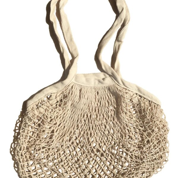 unbleached long handle string bag