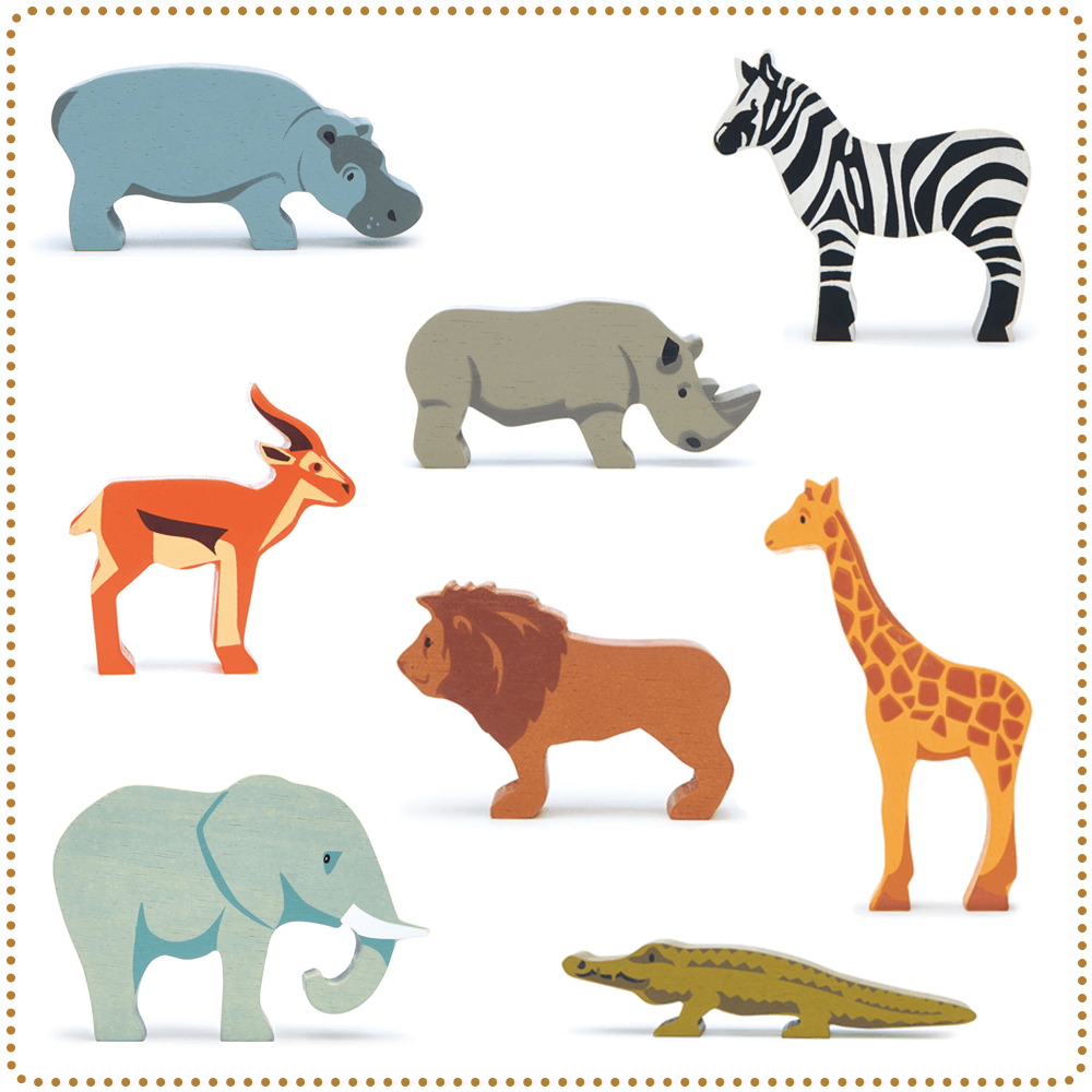 Tender Leaf Toys African Animals Safari wooden animals