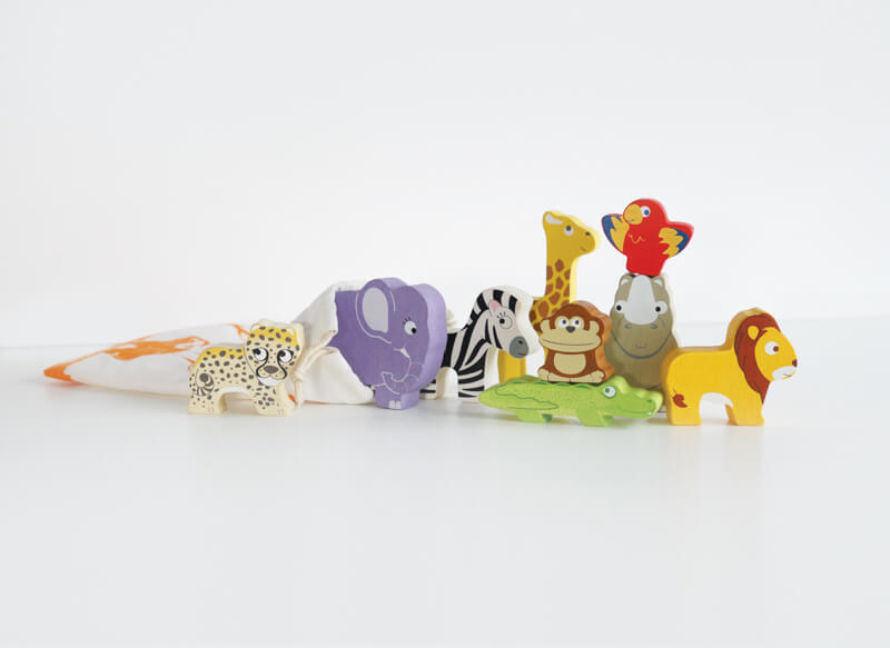 african animals stacker wooden in pouch