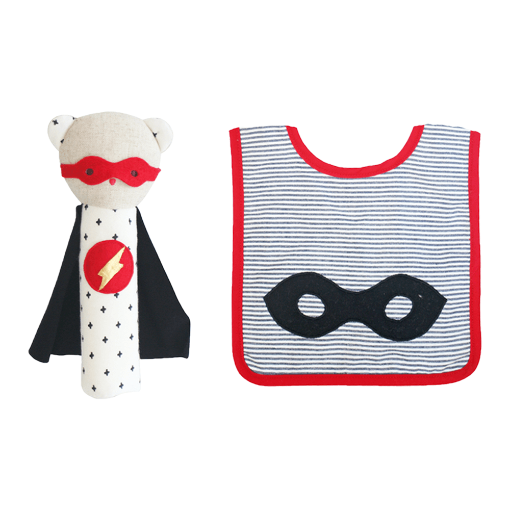 alimrose super ted bib and rattle