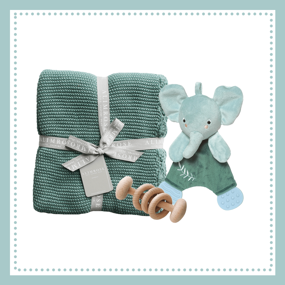 manhattan elephant, alimrose sage blanket, alimrose beechwood teether - plain