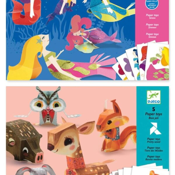 djeco woodland and mermaid paper toys