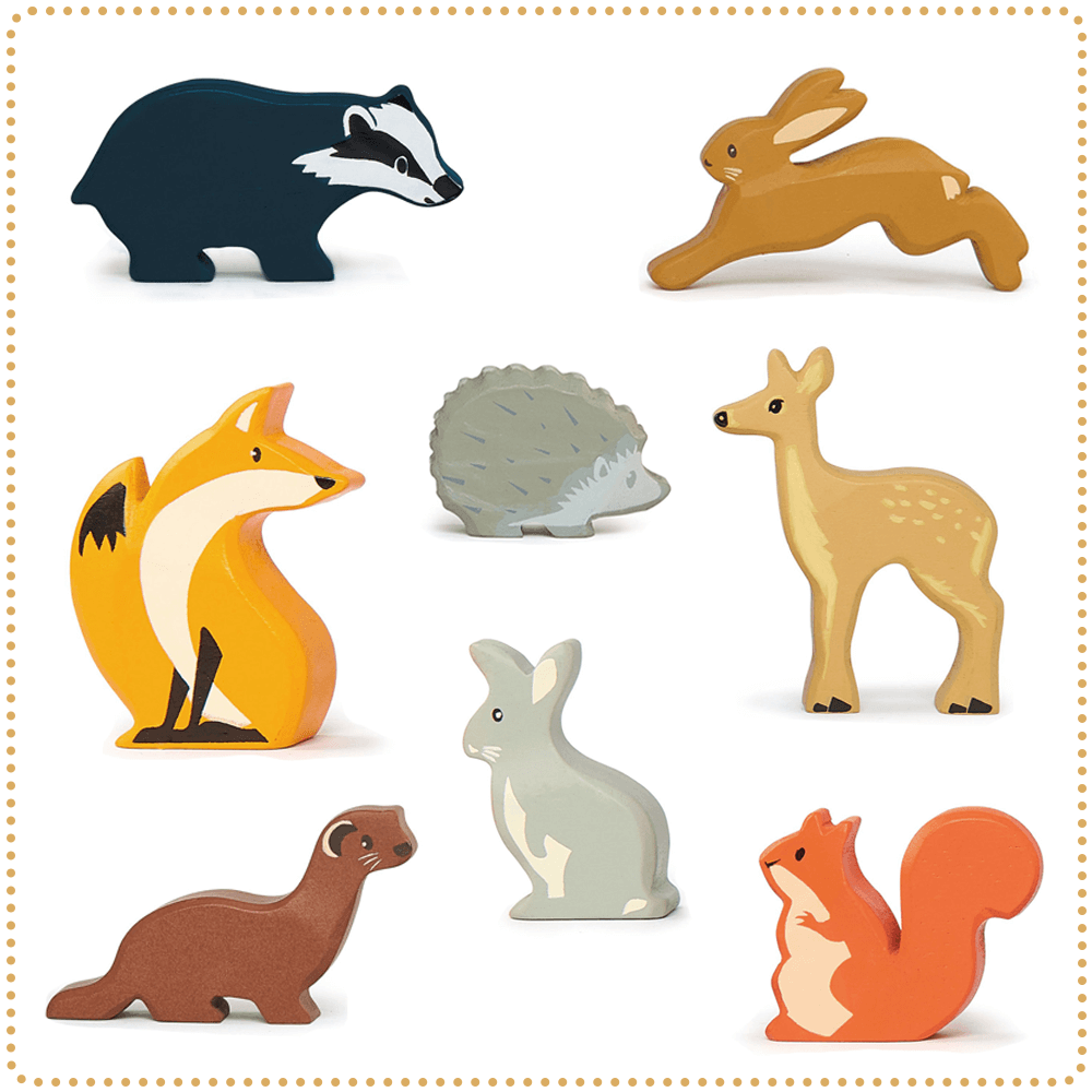 tender leaf toys woodland wooden animals set of 8