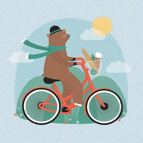 bicycle bear card sledge illustrations