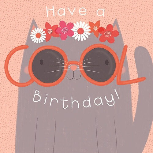 birthday cool cat card sledge illustrations
