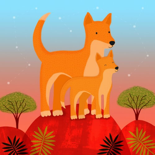 dingo pups sledge illustrations card