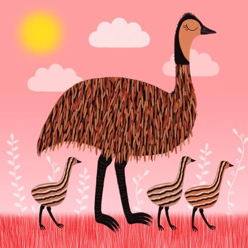 emu family sledge illustrations card