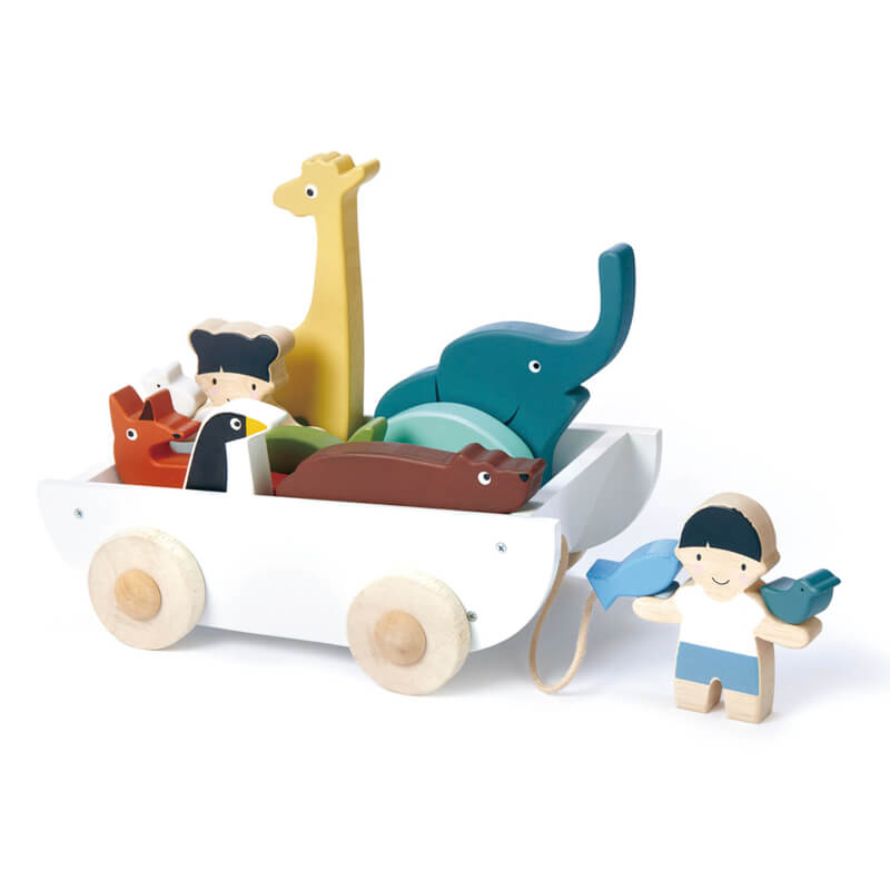 animals and friends in pullalong cart