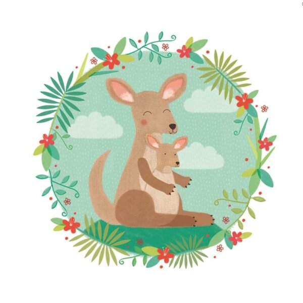 kangaroo and joey sledge illustrations card