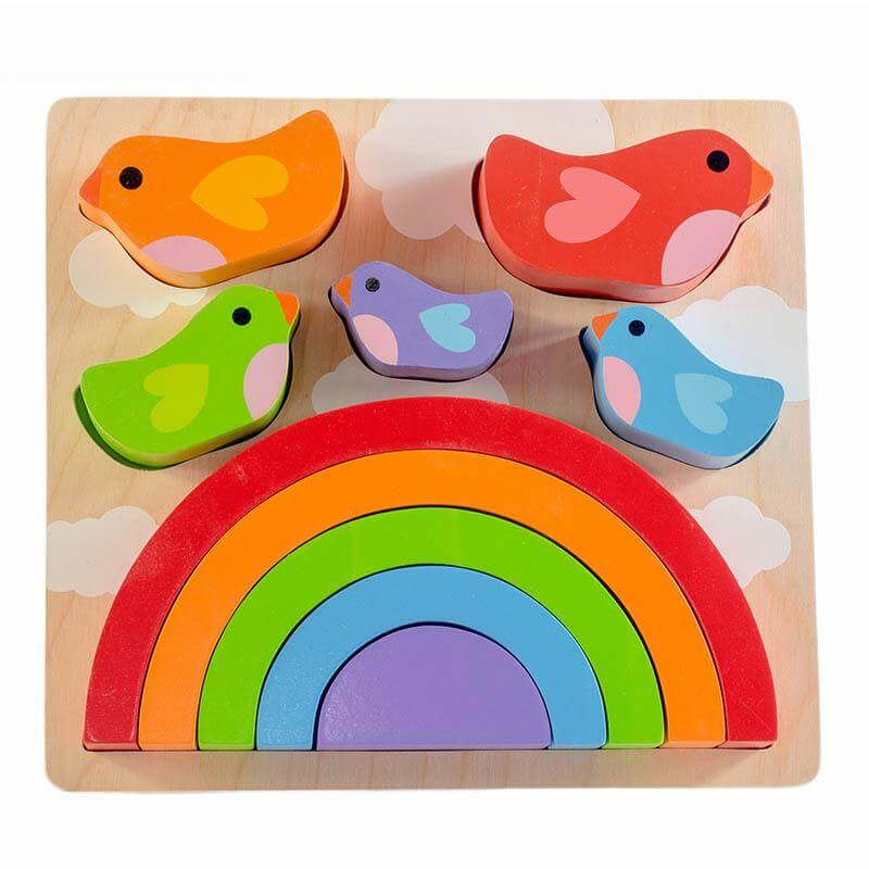 wooden bird and rainbow puzzle