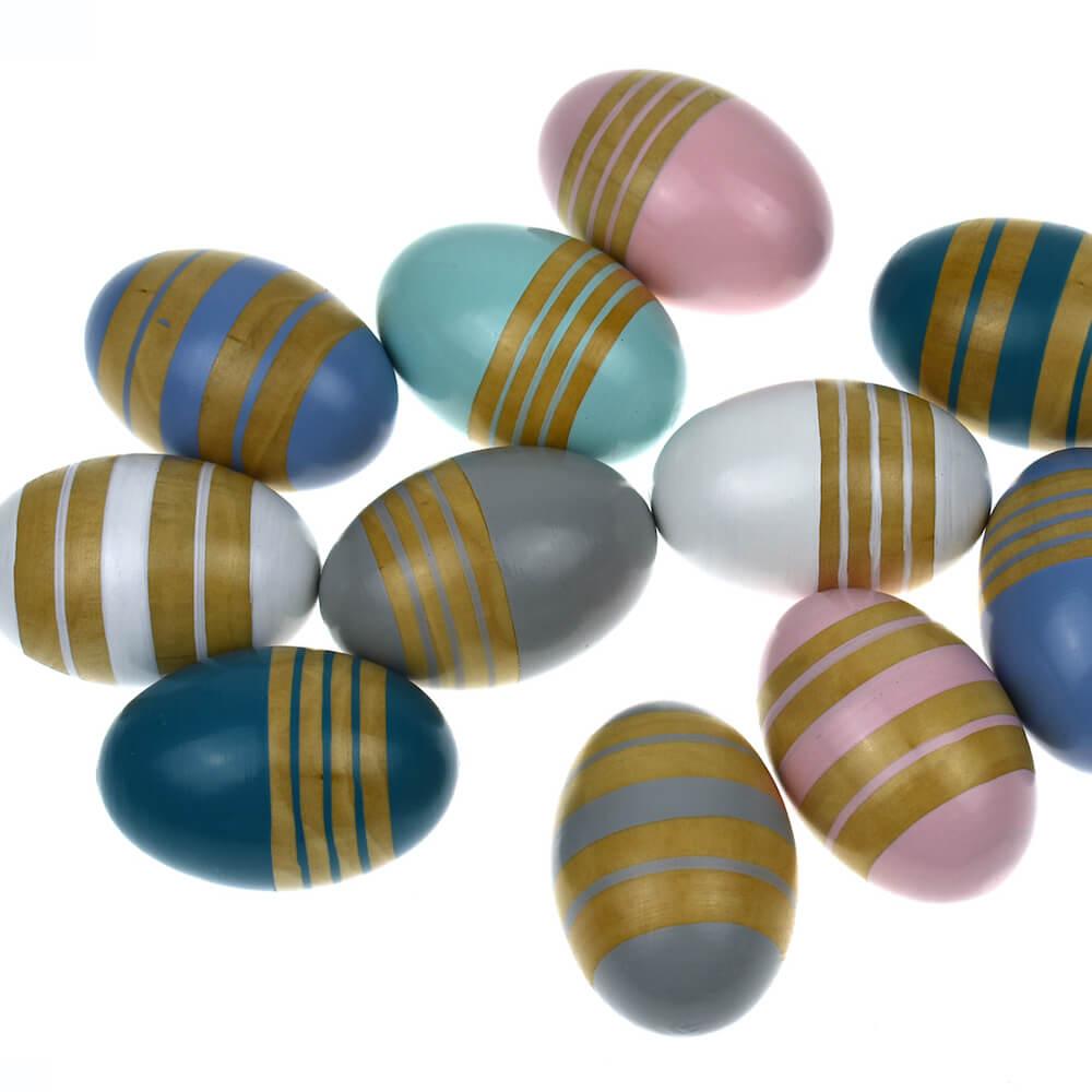 shaking rattling wooden stripe eggs 2