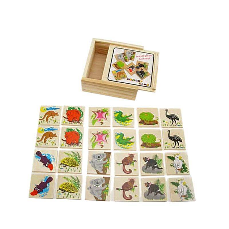 aussie animal memo game in box